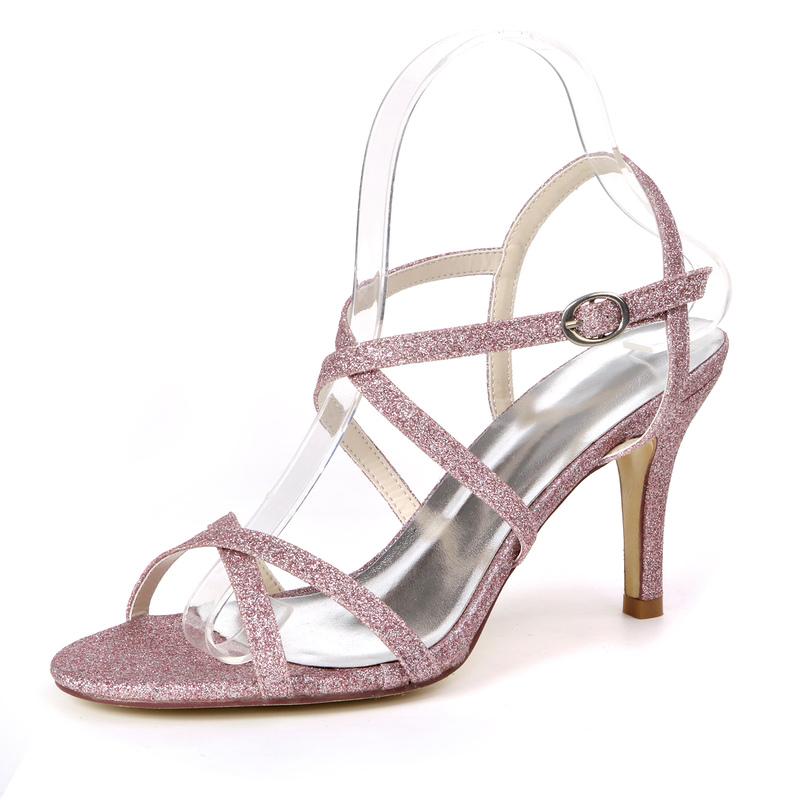 Kvinner Glitrende Glitter Stiletto Hæl Sandaler med Spenne Glitrende Glitter