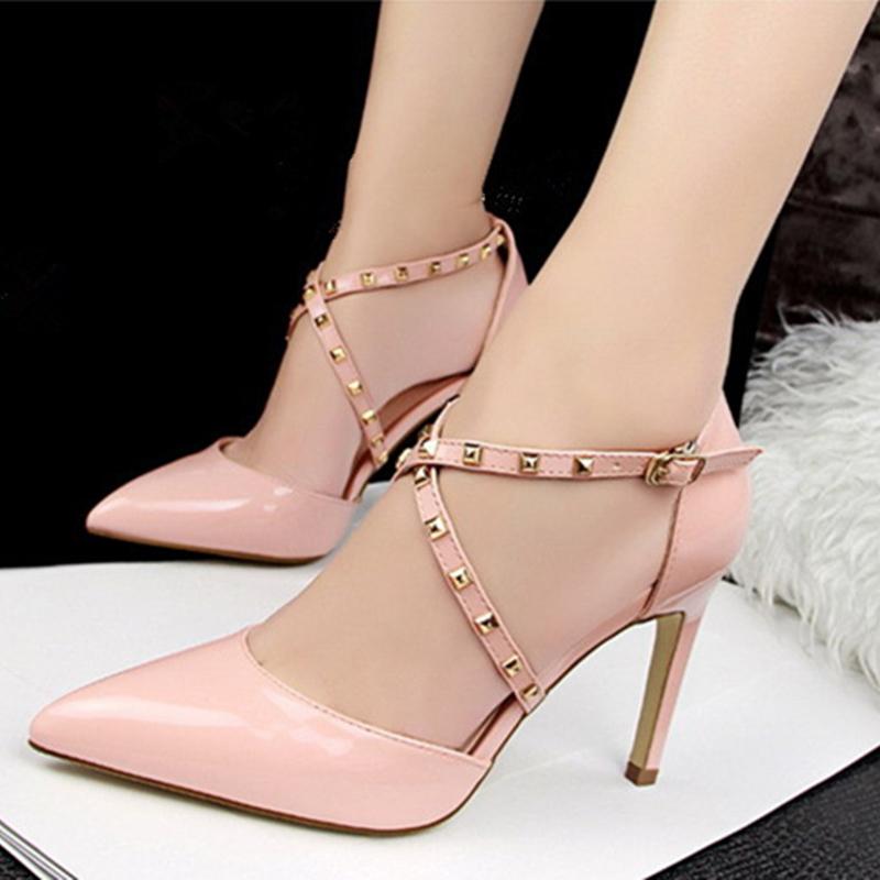 Women's Patent Leather Stiletto Heel Sandals Pumps Closed Toe With Rivet shoes