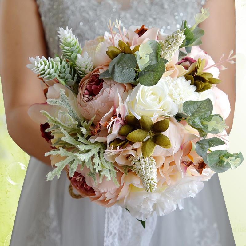 Round Satin/Silk Bridal Bouquets -