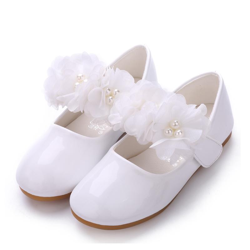 Jentas Lukket Tå Patent lær flat Heel Flate sko Flower Girl Shoes med Imitert Perle Velcro Blomst