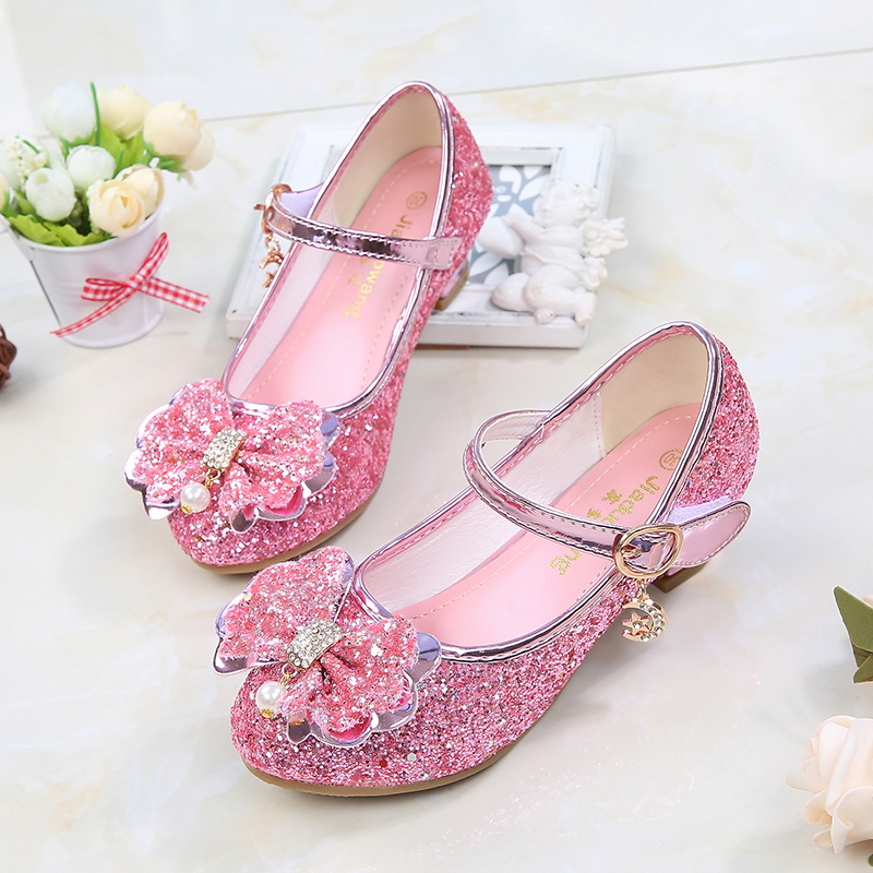 Jentas Lukket Tå Leather lav Heel Flower Girl Shoes med Bowknot