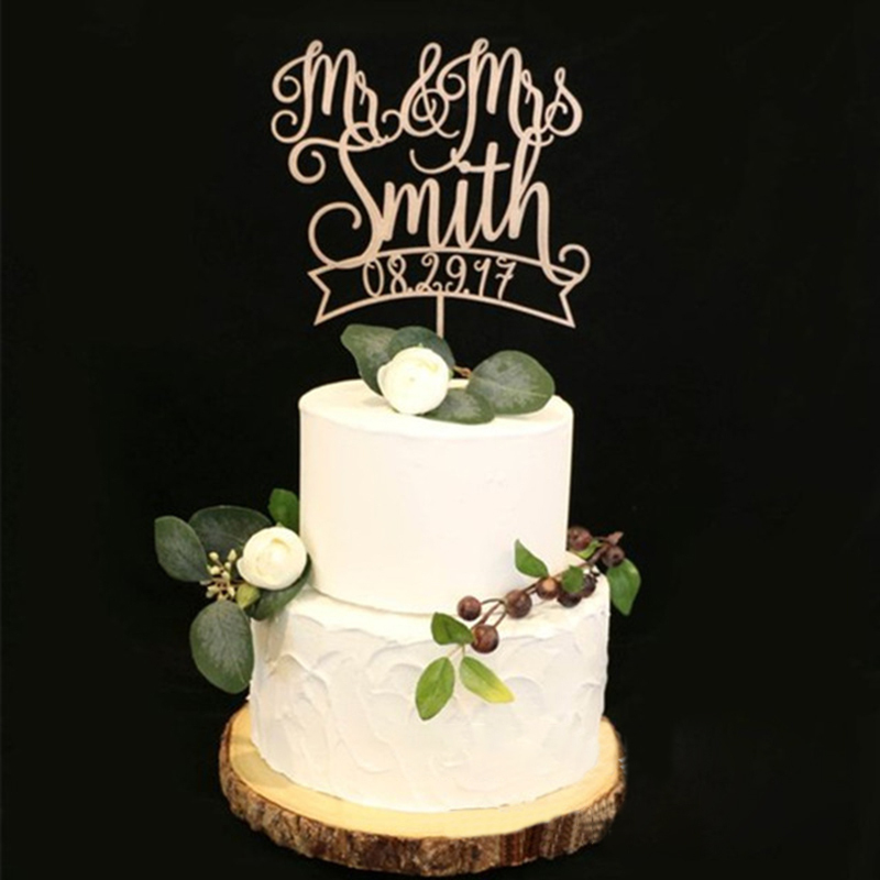 "Personalized Vintage Style/""Mr. & Mrs.""/Name And Date Wooden Cake Topper"