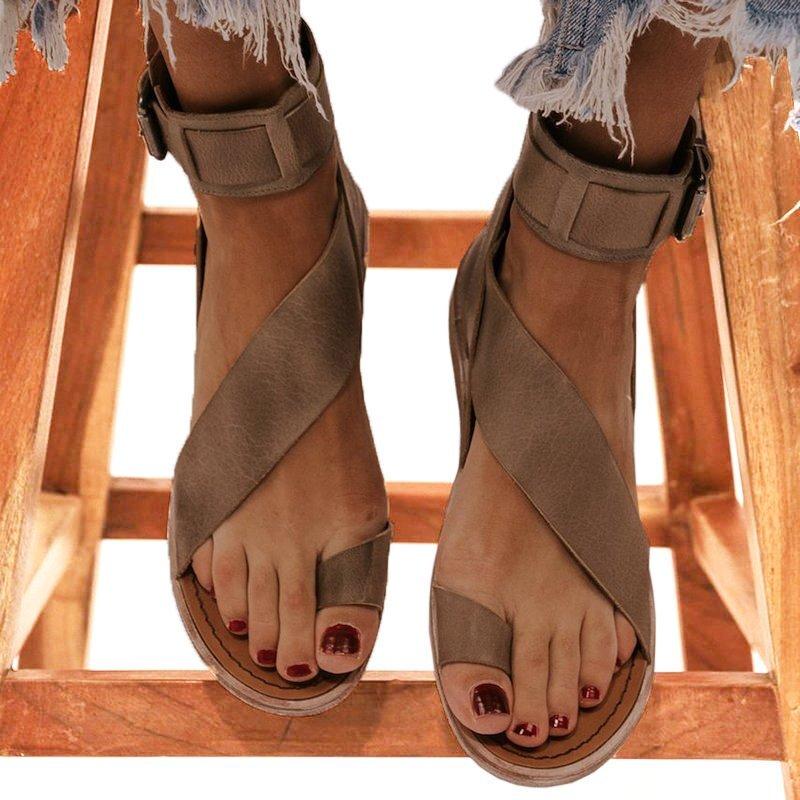 Kvinner Lær Flat Hæl Sandaler Titte Tå med Spenne sko