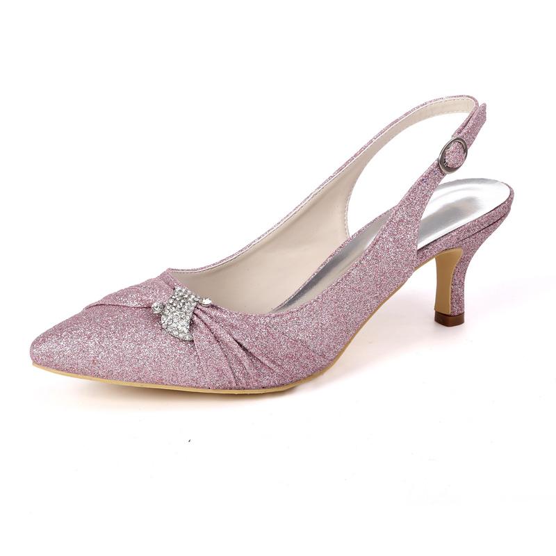 Kvinner Glitrende Glitter Stiletto Hæl Slingbacks med Rhinestone