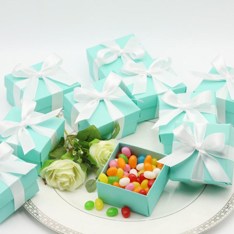 Tiffany Blue Favor Box (with Ribbon) (Set of 12)