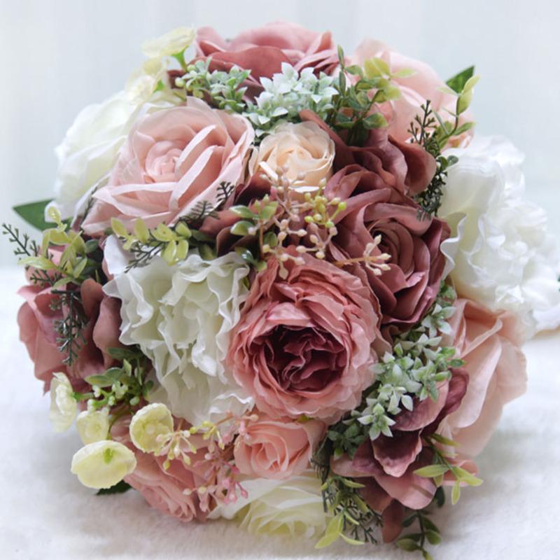 Nydelig Rund Kunstige Blomster Brude Buketter (som selges i et enkelt stykke) -