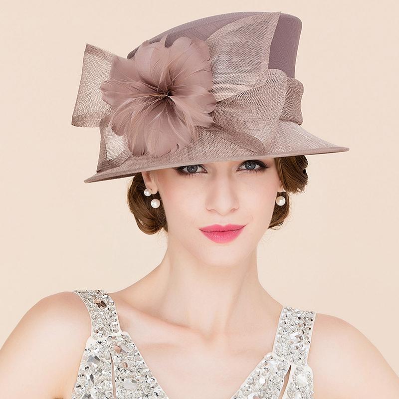 Damene ' Iøynefallende Cambric med Fjær Stiv / Cloche Hatt/Kentucky Derby Hatter/Tea Party Hats