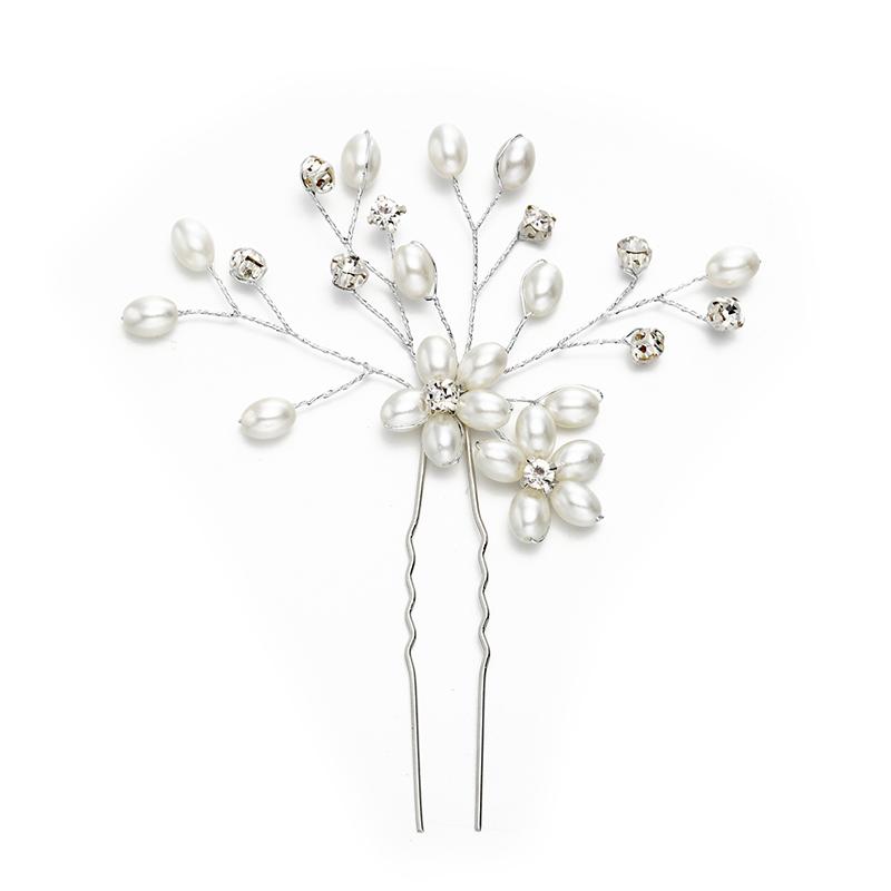 Ladies Gorgeous Rhinestone/Imitation Pearls Hairpins With Rhinestone/Venetian Pearl (Sold in single piece)