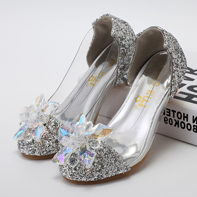Girl's Closed Toe Leatherette Sparkling Glitter Low Heel Pumps Flower Girl Shoes With Rhinestone