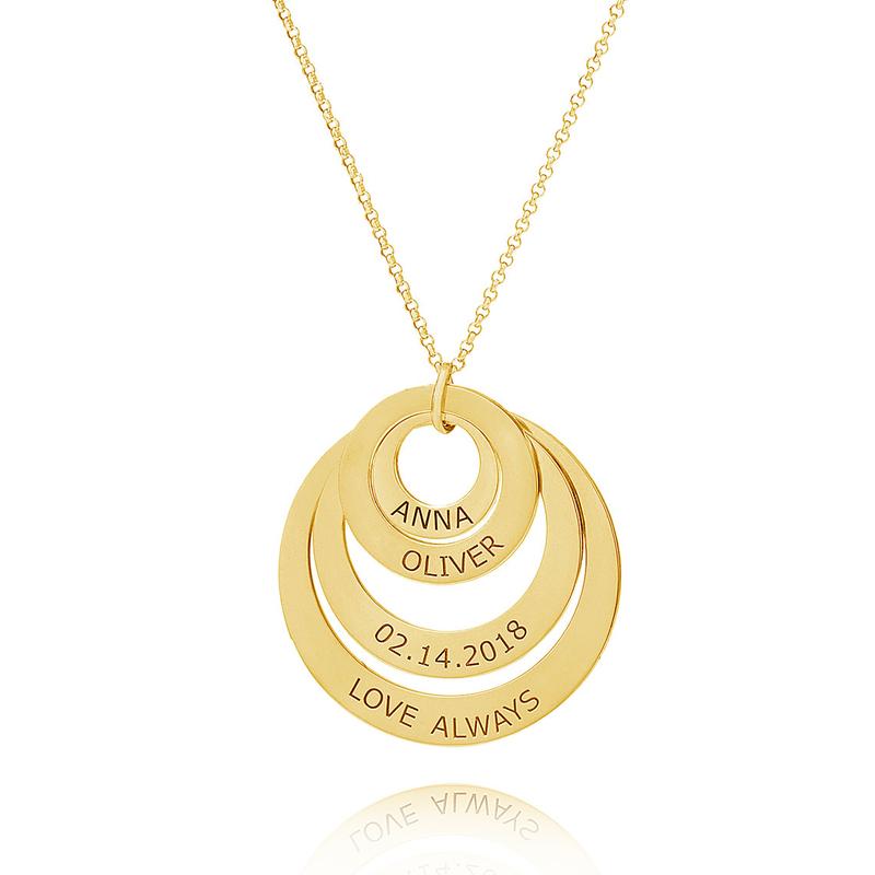 Personlig 18k gullbelagt fire Gravert halsbånd Familie halskjeder Circle Necklace med Barnenavn - Bursdagsgaver Morsdag Gaver