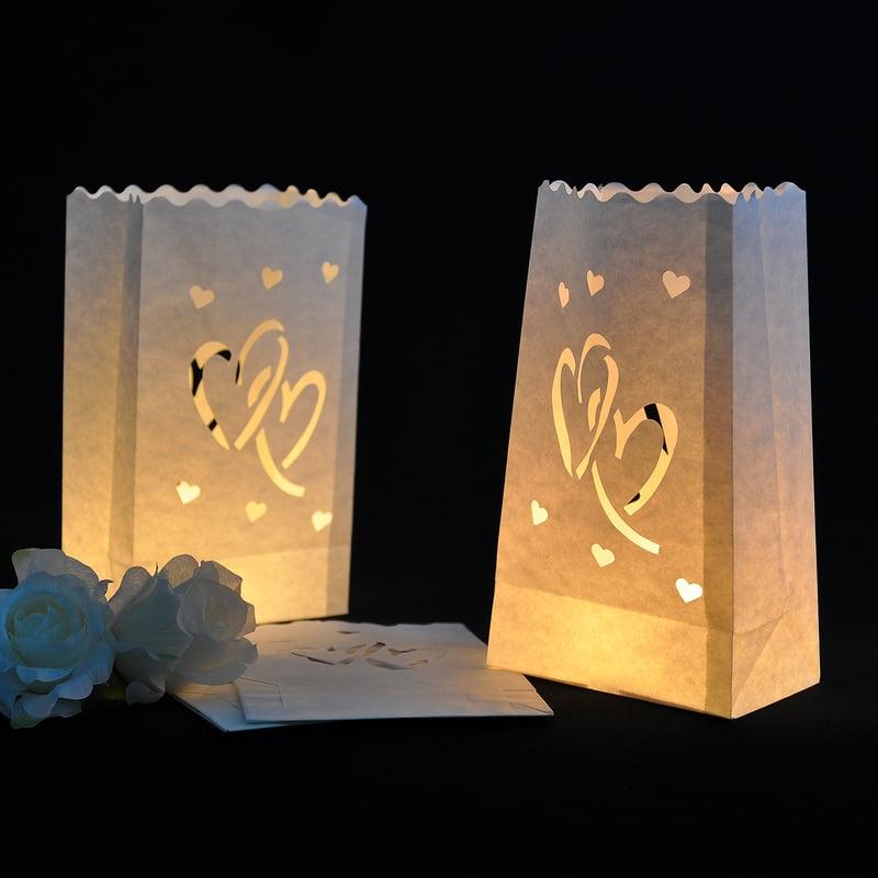 Fin Hjerte Utforming Papir Luminary (sett av 4)