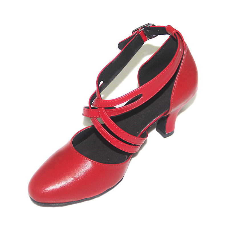 Women's Real Leather Pumps Ballroom Swing With Ankle Strap Dance Shoes