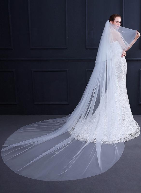 Two-tier Cut Edge Chapel Bridal Veils