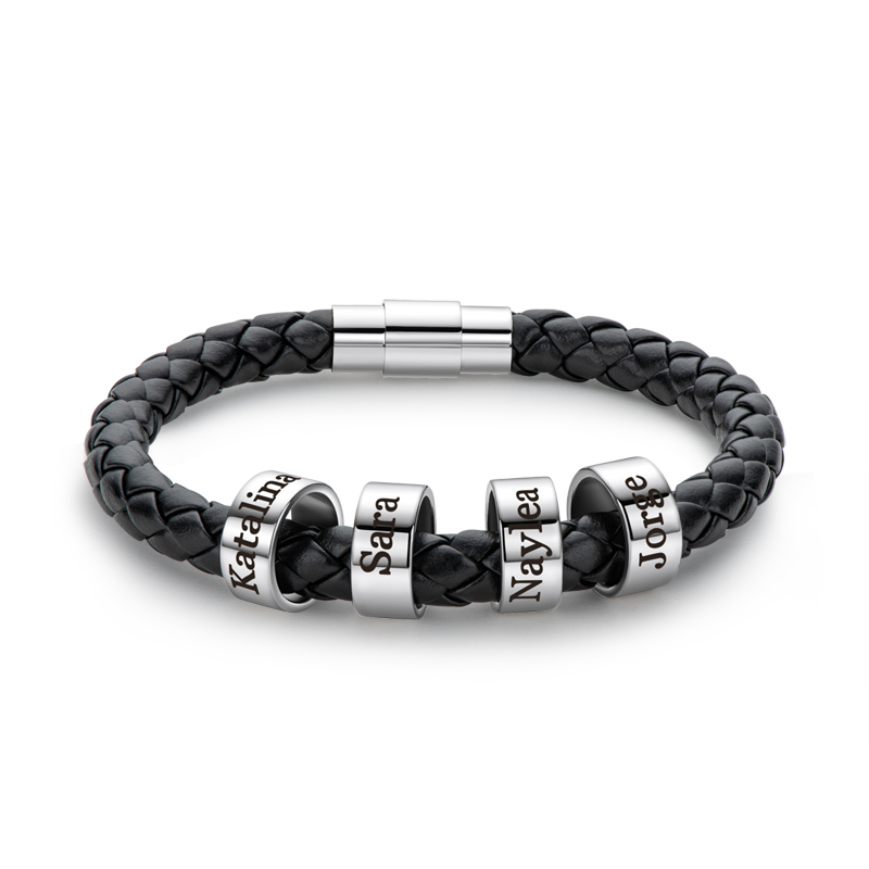 personlig Platina Belagt  Mennesker Flettet Lærarmbånd med Tilpassede Perler I Sølv - Gaver Til Menn