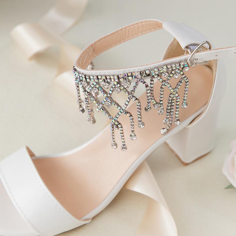 Kvinner Lær Stor Hæl Titte Tå Platform Sandaler med Spenne Imitert Perle Rhinestone Glitrende Glitter Perle