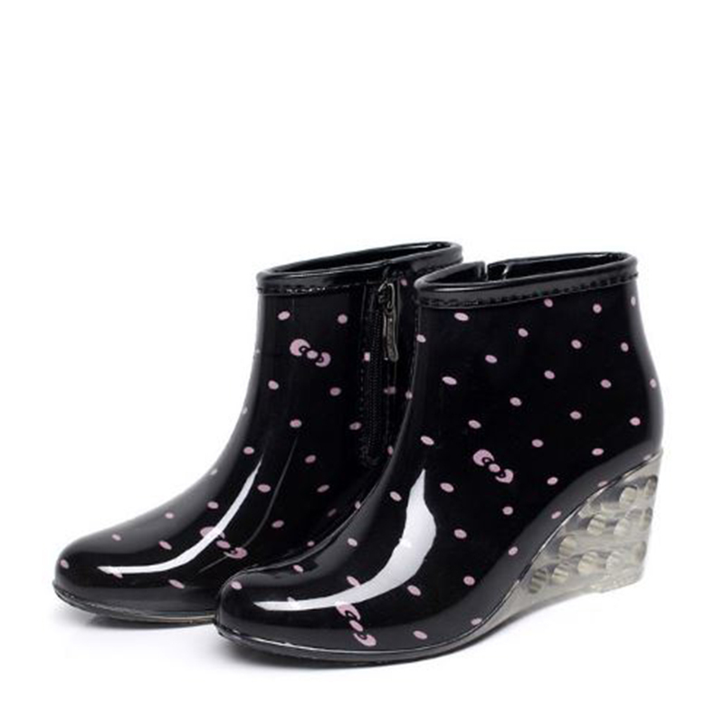 Women's PVC Wedge Heel Wedges Boots Rain Boots shoes