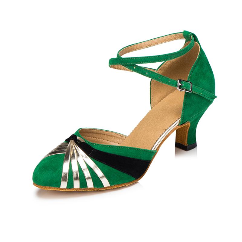 Women's Suede Heels Pumps Ballroom With Buckle Dance Shoes