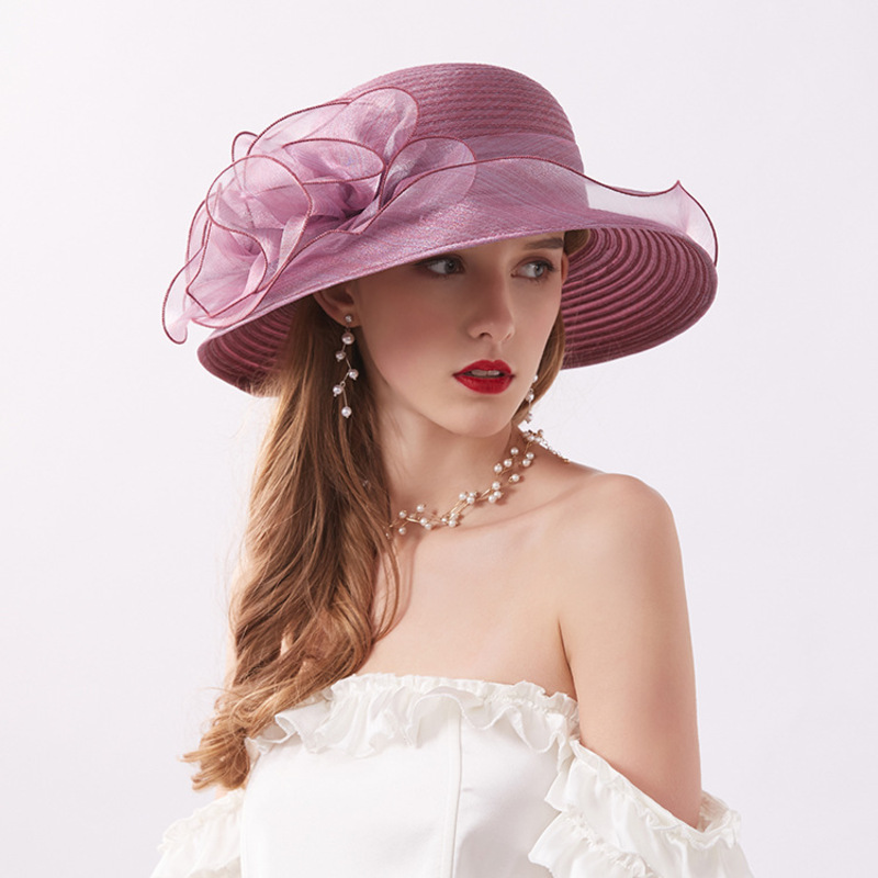 Damene ' Klassisk stil/Elegant/Enkel Organza med Blomst Strand / Sol Hatter/Kentucky Derby Hatter/Tea Party Hats