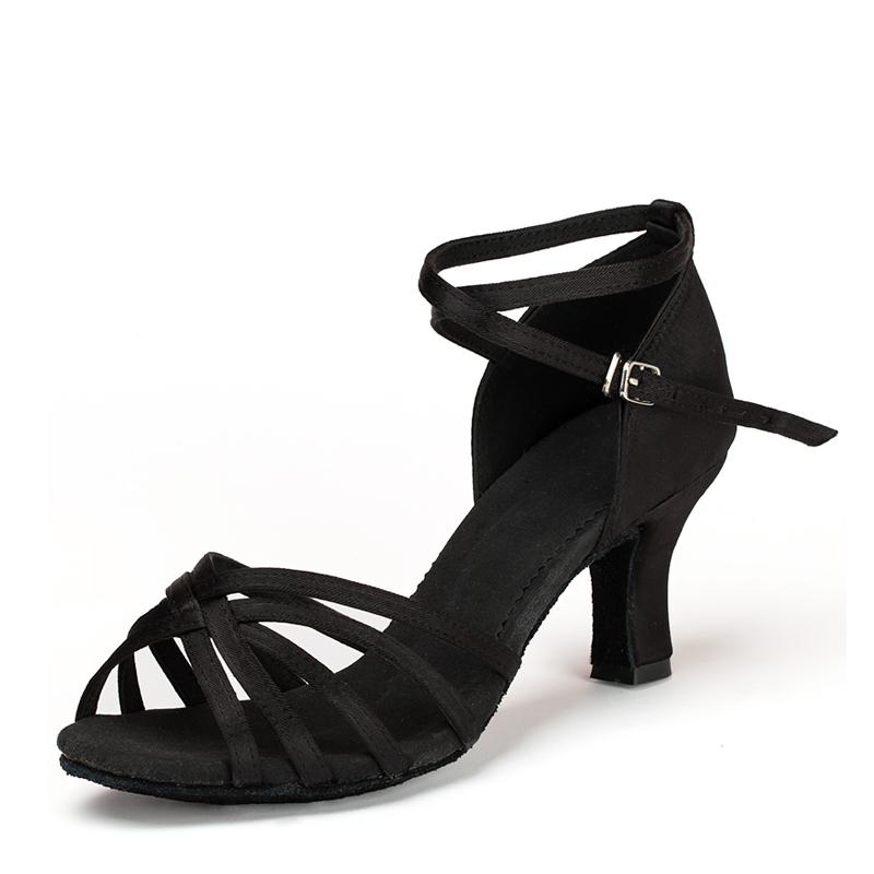 Women's Satin Heels Sandals Latin Dance Shoes