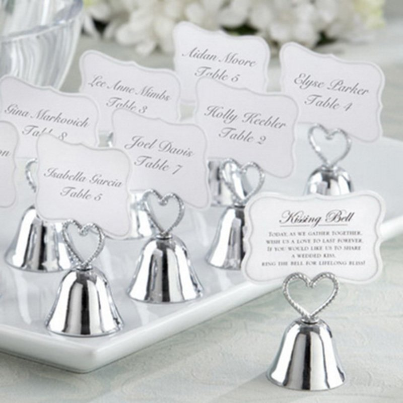 """Heart Topped """"Kissing Bell"""" Metal Place Card Holders (Set of 4)"""