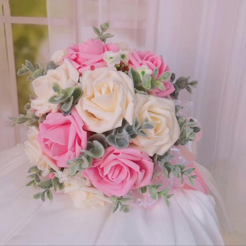Klassisk stil Hånd Bundet Poly Etylen/Silke blomst Brude Buketter (som selges i et enkelt stykke) - Brude Buketter