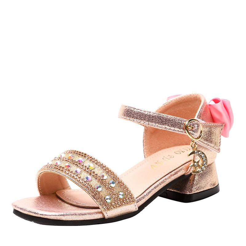 Pike Titte Tå Microfiber Lær Sandaler Flower Girl Shoes med Bowknot Spenne Rhinestone