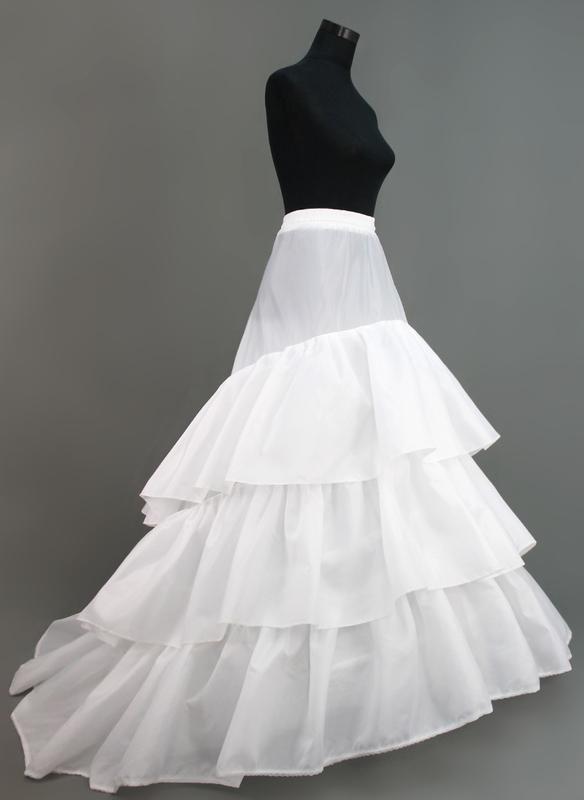 Women Nylon/Tulle Netting Chapel Train 3 Tiers Petticoats