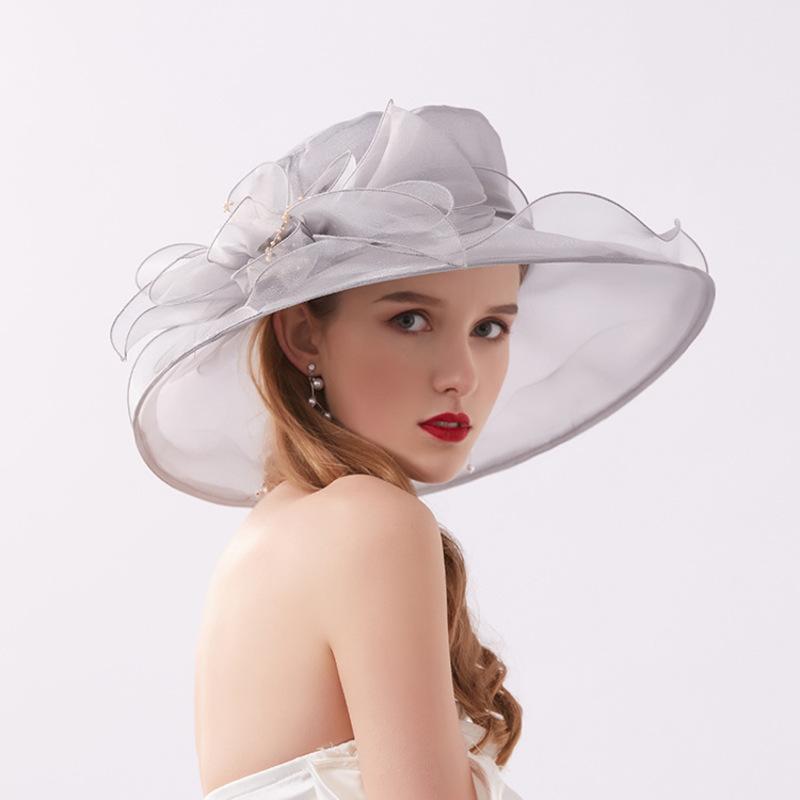 Damene ' Glamorøse/Iøynefallende Netto Garn med Imitert Perle Strand / Sol Hatter/Kentucky Derby Hatter/Tea Party Hats