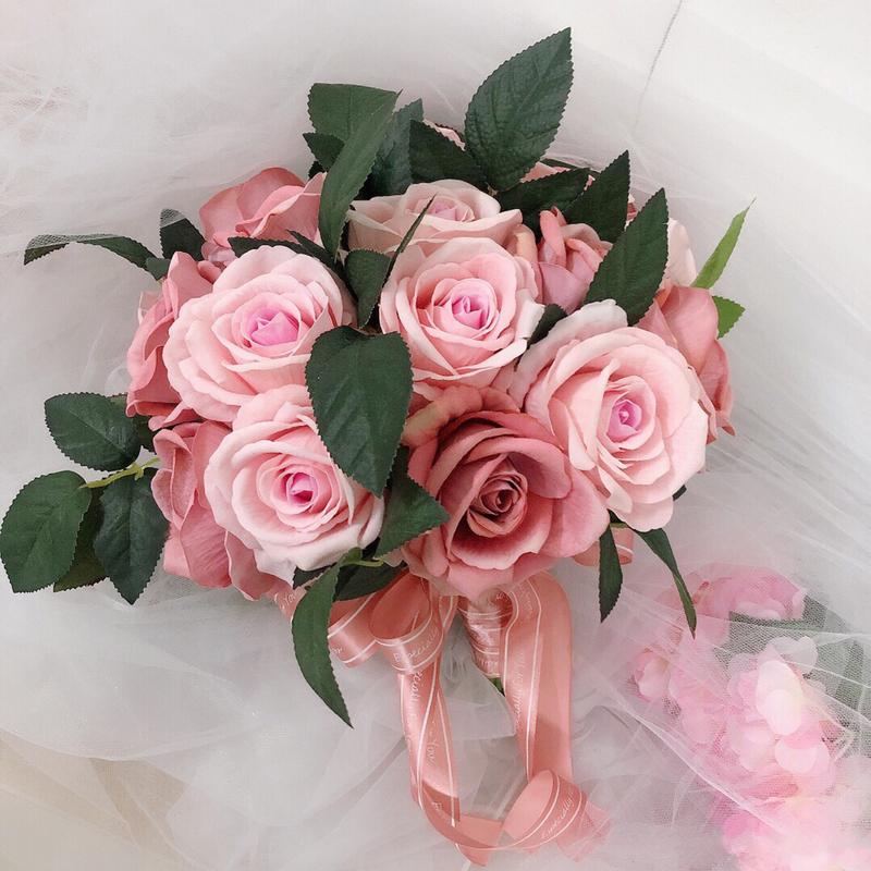 Jentete Hånd Bundet Bånd/Kunstige Blomster Brude Buketter (som selges i et enkelt stykke) - Brude Buketter