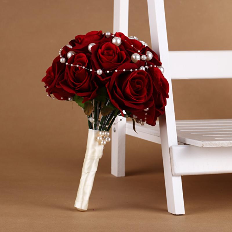 Sweet Round Satin/Silk Bridal Bouquets