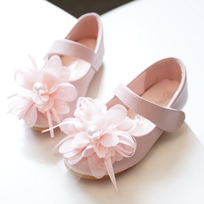 Jentas Round Toe Lukket Tå Microfiber Lær flat Heel Flate sko Flower Girl Shoes med Velcro Blomst