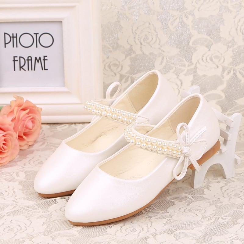 Jentas Lukket Tå Leather flat Heel Flower Girl Shoes med Profilering Bowknot Velcro