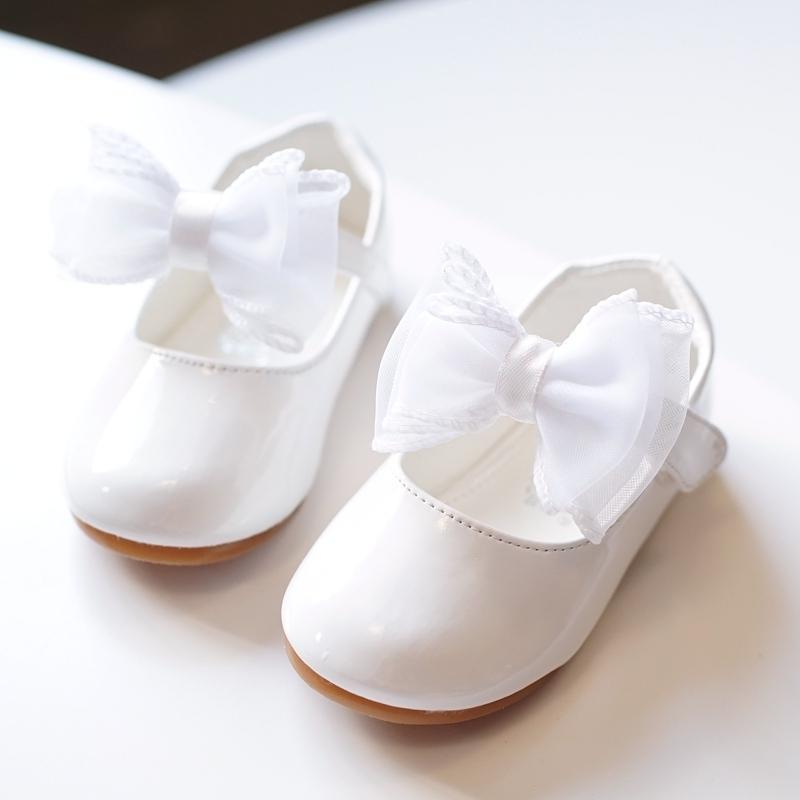Jentas Round Toe Lukket Tå Leather flat Heel Flate sko Flower Girl Shoes med Bowknot Velcro