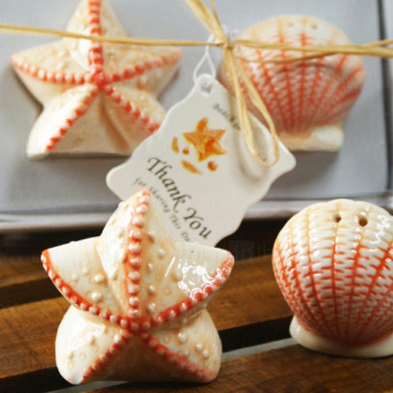 Skall & Star Keramikk Salt & Pepper Shakere med Stikkord (Sett av 2 stk)
