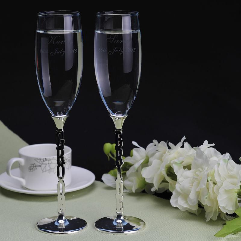 Groom Gaver - Personlig Glass Zinc Aluminiums Champagnefløyter (Sett med 2)