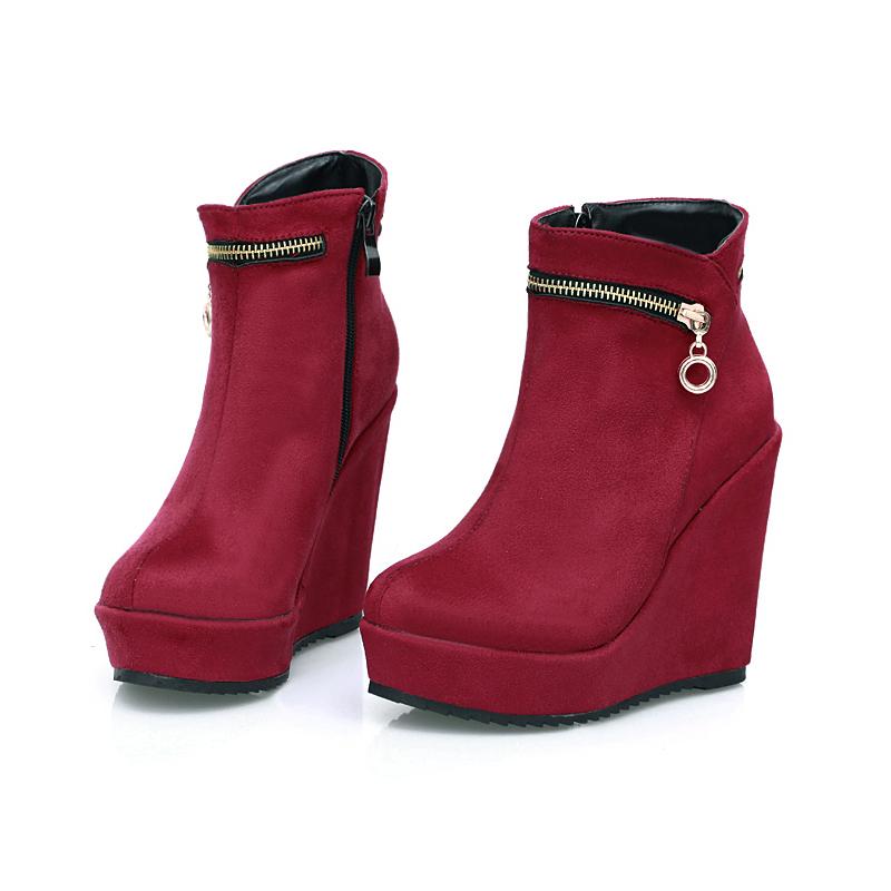 Kvinner Semsket Kile Hæl Platform Kiler Ankelstøvler med Glidelås sko
