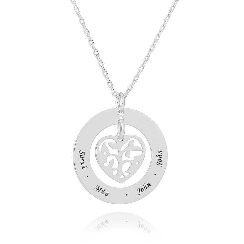 Personlig sølv Gravering / Inngravert Familie halskjeder Circle Necklace med Hjerte Familietre - Bursdagsgaver Morsdag Gaver