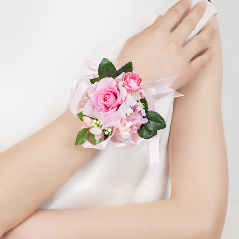 Cute Free-Form Satin/Cotton Wrist Corsage