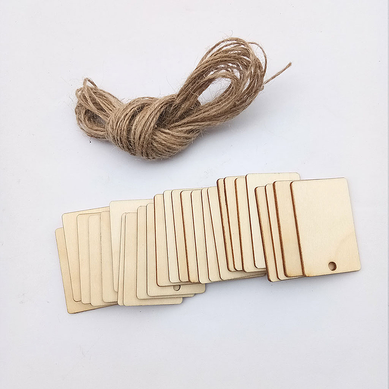 DIY Rectangular Wooden Hanging Tag With Natural Wood Chips for Wedding Decoration (set of 25)