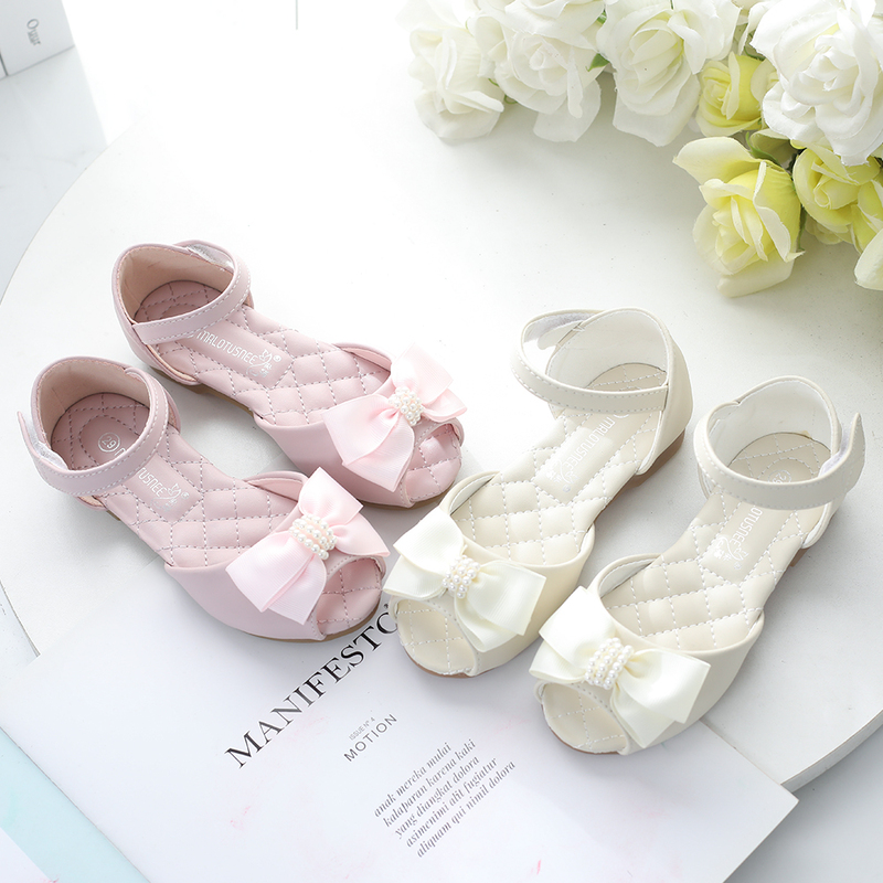 Jentas Titte Tå Leather lav Heel Flower Girl Shoes med Profilering Bowknot