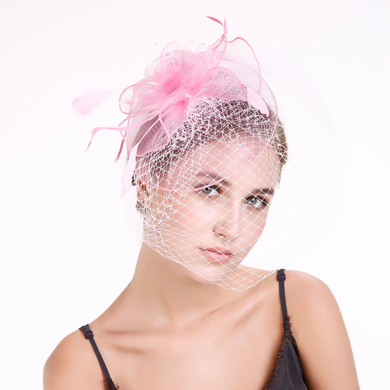 Ladies' Classic Feather/Net Yarn With Feather Fascinators