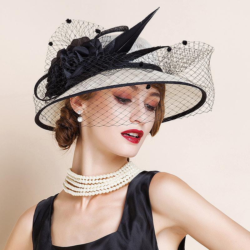Damene ' Fin/Romantisk/vintage stil/Kunstnerisk Cambric med Tyll Fascinators/Kentucky Derby Hatter/Tea Party Hats