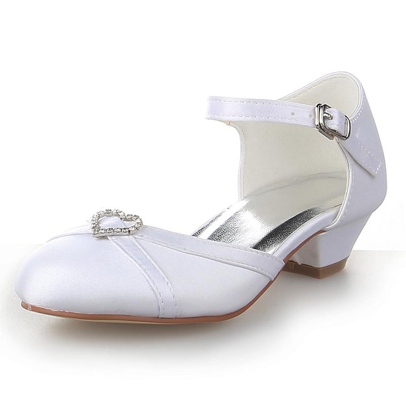 Jentas Lukket Tå Satin lav Heel Flower Girl Shoes med Rhinestone
