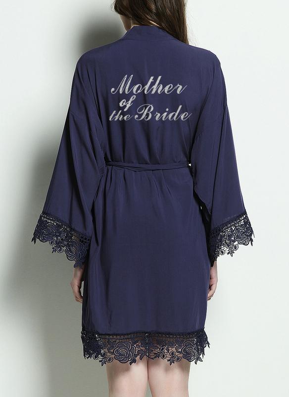 Cotton Bride Bridesmaid Mom Junior Bridesmaid Glitter Print Robes