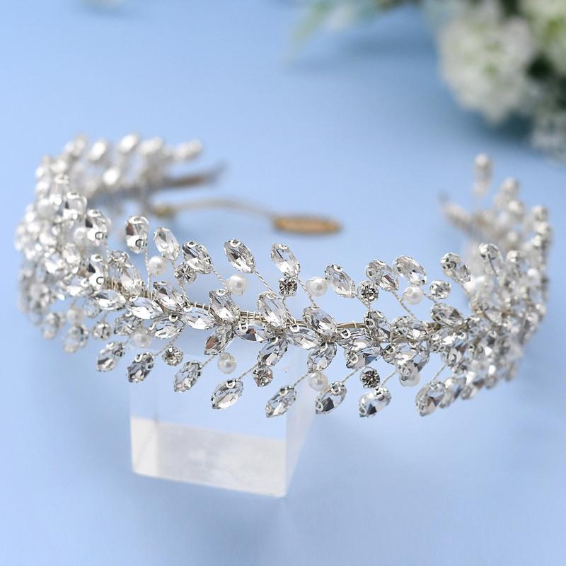 Damer/Kids Vakkert Rhinestone/Imitert Perle Tiaraer/Pannebånd med Rhinestone/Venetianske Perle/Crystal/Imitert Krystall (Selges i ett stykke)