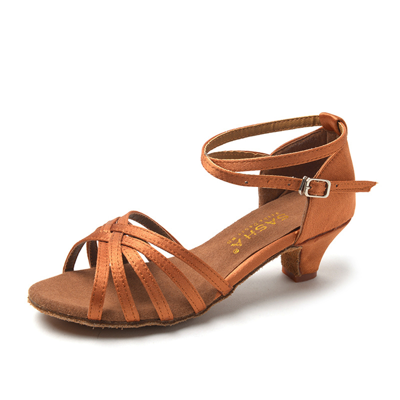 Women's Satin Leatherette Sandals Latin With Buckle Hollow-out Dance Shoes