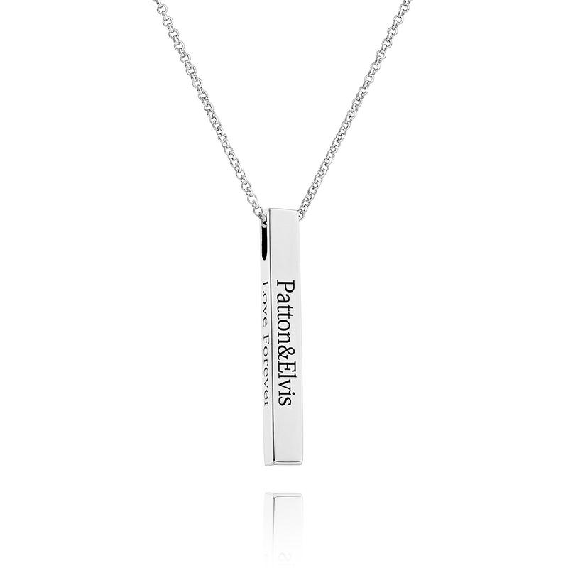 [Gratis frakt]Personlig sølv 3D Bar Halskjede Gravert halsbånd - Bursdagsgaver Morsdag Gaver