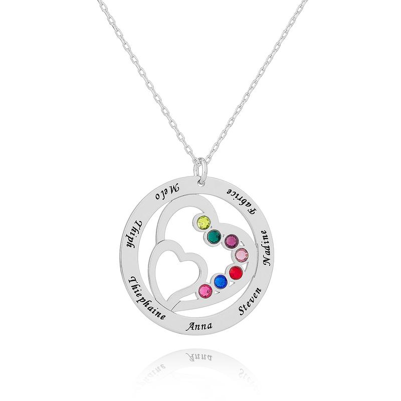 Personlig sølv Overlapp~~POS=TRUNC Birthstone Halskjede Familie halskjeder med Hjerte - Bursdagsgaver Morsdag Gaver
