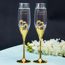 Groom Gaver - Personlig Hjerte Glass Zinc Aluminiums Champagnefløyter (Sett med 2)