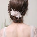 Vakkert Rhinestone/Silke blomst/kobber/Pärlor Kammer og Barrettes (Selges i ett stykke)